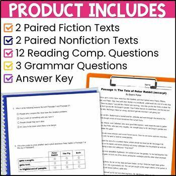 ELA Test Prep Reading Practice Test Fiction, Nonfiction, Grammar 3rd Grade FSA