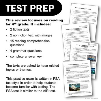 ELA Test Prep Reading Practice Test VOLUME 2 4th Grade FSA