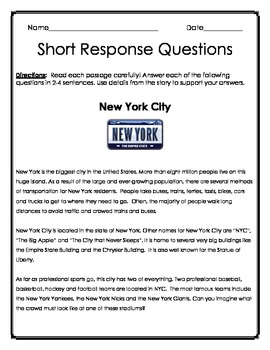 ELA Test Prep: Short Response Questions