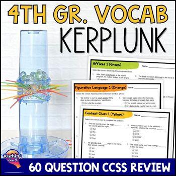 ELA Test Prep Vocabulary Kerplunk Review Game 4th Grade FSA AIR