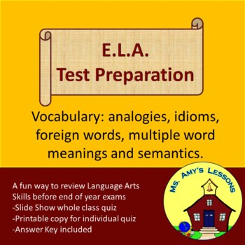 ELA Test Prep Vocabulary Quiz