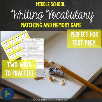 ELA Test Prep: Writing Matching and Memory Game