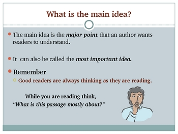 Main Idea and Details- Common Core- PowerPoint Presentation