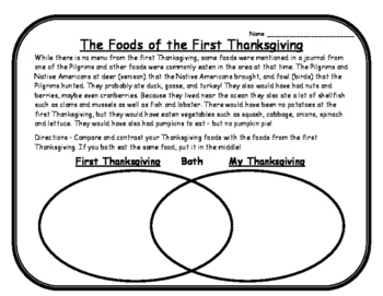 Thanksgiving Reading Passage & Venn Diagram Thanksgiving N