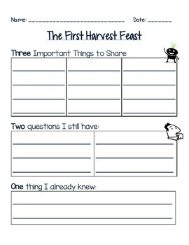 ELA Thanksgiving- The First Feast Activity