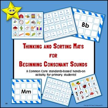Beginning Consonant Sounds Thinking and Sorting Mats