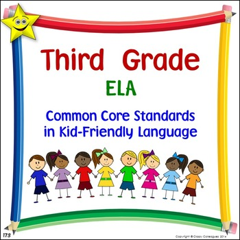 ELA Third Grade Common Core Standards Posters in Kid-Friendly Language
