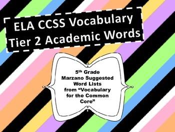 ELA Tier Two Word Wall - 5th Grade