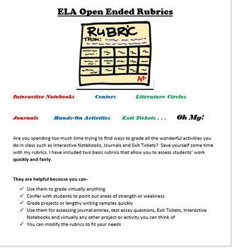 ELA Time-Saving Rubrics