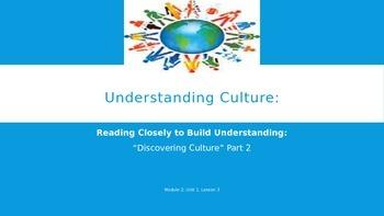 ELA Unit #1 Lesson #3 Understanding Culture