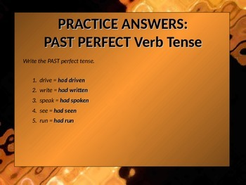 ELA VERBS Perfect Verb Tenses Present, Past, Future Perfect PowerPoint PPT