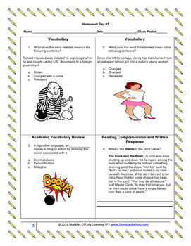 ELA - Visual Homework Activities