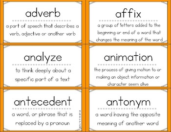 ELA Vocabulary Flash Cards 3-5