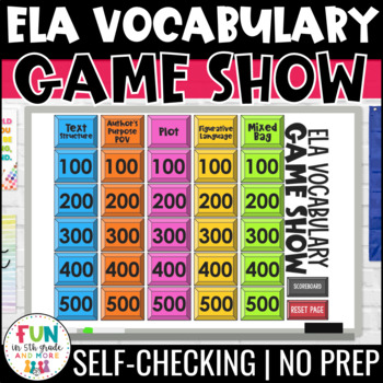 ELA Vocabulary Game Show PowerPoint Game {Reading Review Game}