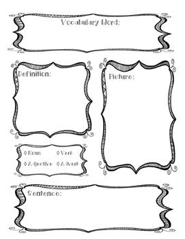 ELA Vocabulary Graphic Organizer