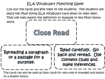 Reading Vocabulary Test Prep- Must Know Words