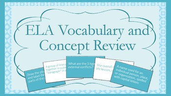ELA Vocabulary Review Game - Projectable