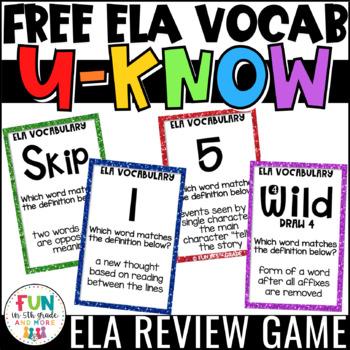 ELA Vocabulary Review U-Know Game for Literacy Centers