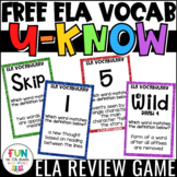 ELA Vocabulary Review Game for Literacy Centers: U-Know