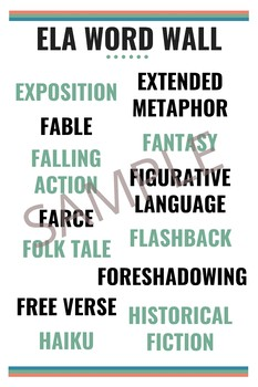 ELA Vocabulary Word Wall Posters - 6 Poster Set
