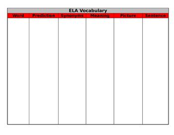 ELA Vocabulary template/poster