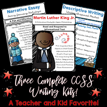 BUNDLE, Winter ELA. Descriptive, Narrative, & Informative Sets. FREE CALENDAR