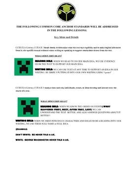 ELA WORKOUT: MINECRAFT EDITION