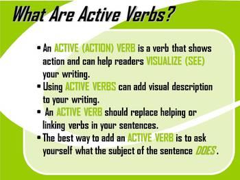 ELA WRITING: Active Verb BRUSH STROKE #1 Advanced & Varied Sentence Structure
