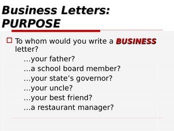 ELA WRITING Letters Business Letters PowerPoint PPT