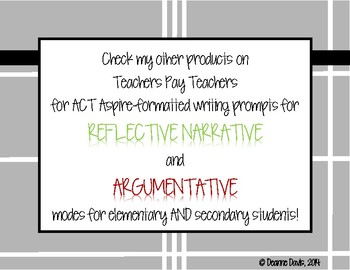 ELA WRITING: Grade 4 ACT Aspire ANALYTICAL EXPOSITORY: 15 Prompts