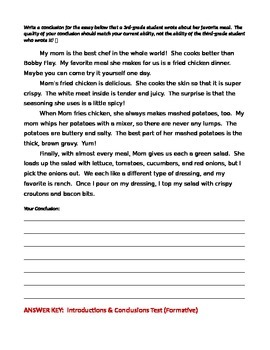 ELA WRITING Introductions & Conclusions TEST