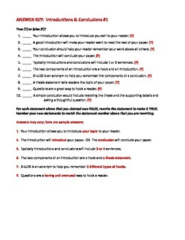 ELA WRITING Introductions & Conclusions Worksheet #1