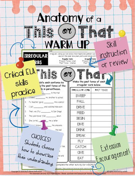 ELA Warm Ups:  20 Daily Bell Ringers - Students Choose Each Activity!  - Set 5
