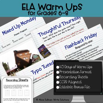 ELA Warm Ups Do Nows Middle School