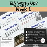 ELA Warm Ups Middle School Week 1 Google Slides