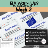 ELA Warm Ups Middle School Week 2 Google Slides