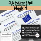 ELA Warm Ups Middle School Week 4 Google Slides