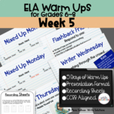 ELA Warm Ups Middle School Week 5 Google Slides