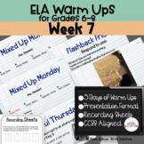 ELA Warm Ups Middle School Week 7 Google Slides