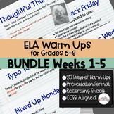ELA Warm Ups Middle School Weeks 1-5 Google Slides BUNDLE