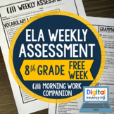 ELA Weekly Assessments {8th Grade} FREE WEEK I Distance Le