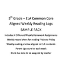 ELA Weekly Reading Log and Homework
