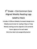 ELA Weekly Reading Log and Homework