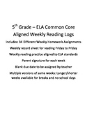ELA Weekly Reading Log and Homework 34 Weeks