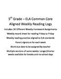ELA Weekly Reading Log and Homework 34 Weeks
