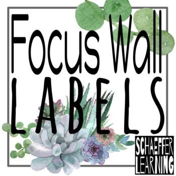 ELA Wonders Focus Wall Labels: Succulent Theme