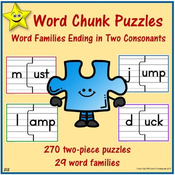 Word Chunk Puzzles - Word Families Ending in Two Consonants