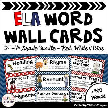 ELA Word Wall 3rd-6th grade BUNDLE - Editable - Red, White & Blue