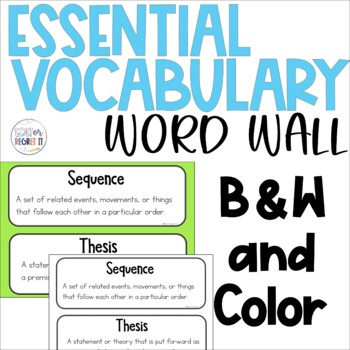 ELA Academic Vocabulary Word Wall Signs Middle Grades