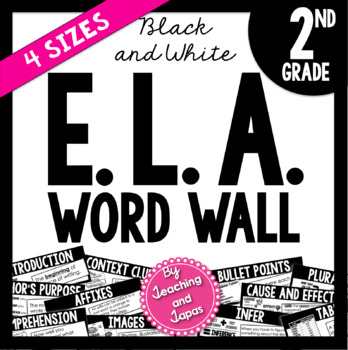 ELA Word Wall *BLACK AND WHITE* (2nd Grade)